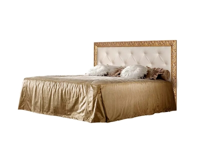 Кровать 1,6 м с мягким элементом со стразами с ПМ ТФКР-2[3][7](П) Тиффани Премиум Капучино золото