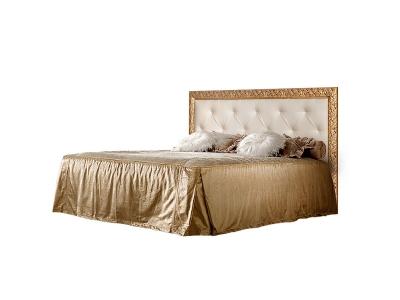 Кровать 2-х спальная 1,6 м с мягким элементом со стразами ТФКР-2[7] Тиффани Штрих золото