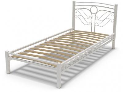 Кровать 90 Фантазия-2 металлическая Белый глянец