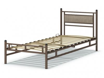 Кровать 90 Мелина металлическая Венге - Рогожка