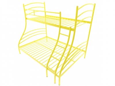 Кровать металлическая двухъярусная Глория желтая