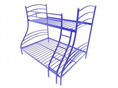 Кровать металлическая двухъярусная Глория синяя