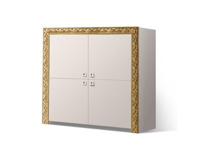 Пенал 4-х дверный ТФП-3(П) Тиффани Премиум Слоновая кость золото