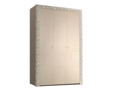 Шкаф 3-х дверный для платья и белья без зеркал ТФШ2/3(П) Тиффани Премиум Капучино серебро