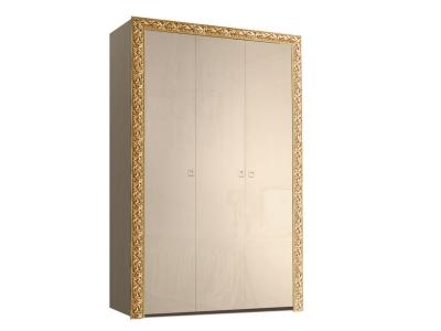 Шкаф 3-х дверный для платья и белья без зеркал ТФШ2/3(П) Тиффани Премиум Капучино золото