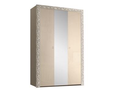 Шкаф 3-х дверный для платья и белья с зеркалом ТФШ1/3(П) Тиффани Премиум Капучино серебро