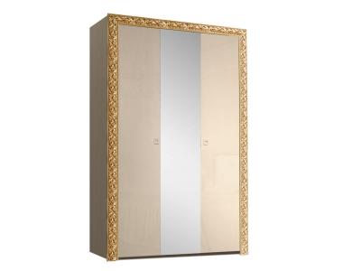 Шкаф 3-х дверный для платья и белья с зеркалом ТФШ1/3(П) Тиффани Премиум Капучино золото