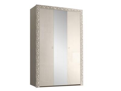 Шкаф 3-х дверный для платья и белья с зеркалом ТФШ1/3(П) Тиффани Премиум Слоновая кость серебро