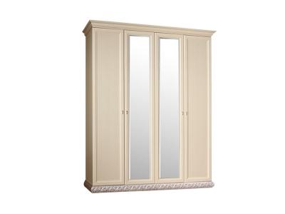 Шкаф 4-х дверный 2 зеркала для платья и белья ТФШ1/4 Тиффани Штрих серебро
