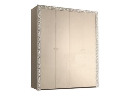 Шкаф 4-х дверный для платья и белья без зеркал ТФШ2/4(П) Тиффани Премиум Капучино серебро