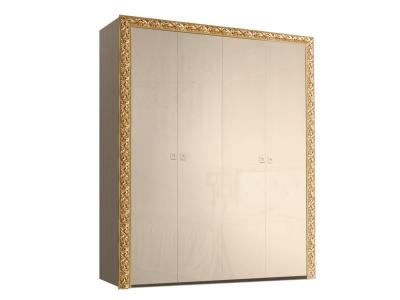 Шкаф 4-х дверный для платья и белья без зеркал ТФШ2/4(П) Тиффани Премиум Капучино золото