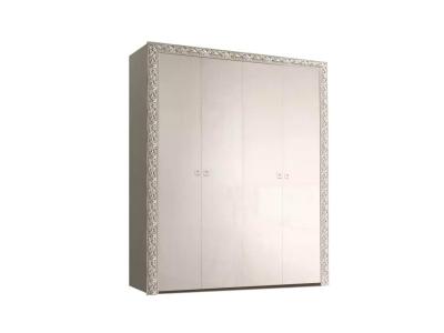 Шкаф 4-х дверный для платья и белья без зеркал ТФШ2/4(П) Тиффани Премиум Слоновая кость серебро