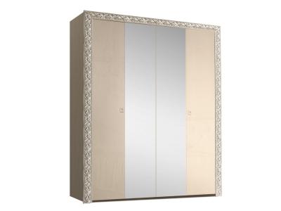 Шкаф 4-х дверный для платья и белья с зеркалами ТФШ1/4(П) Тиффани Премиум Капучино серебро