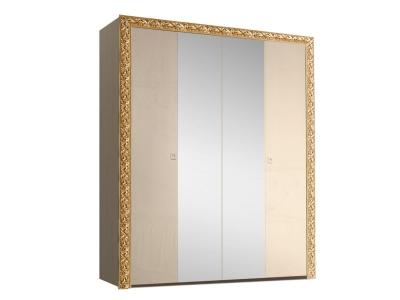 Шкаф 4-х дверный для платья и белья с зеркалами ТФШ1/4(П) Тиффани Премиум Капучино золото