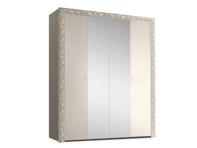 Шкаф 4-х дверный для платья и белья с зеркалами ТФШ1/4(П) Тиффани Премиум Слоновая кость серебро