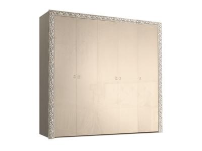 Шкаф 5-ти дверный для платья и белья без зеркал ТФШ2/5(П) Тиффани Премиум Капучино серебро