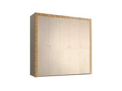 Шкаф 5-ти дверный для платья и белья без зеркал ТФШ2/5(П) Тиффани Премиум Капучино золото