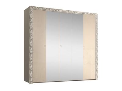 Шкаф 5-ти дверный для платья и белья с зеркалами ТФШ1/5(П) Тиффани Премиум Капучино серебро