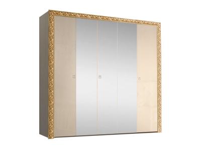 Шкаф 5-ти дверный для платья и белья с зеркалами ТФШ1/5(П) Тиффани Премиум Капучино золото