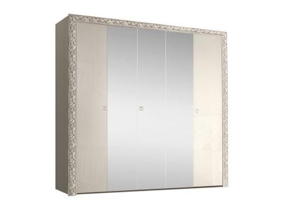 Шкаф 5-ти дверный для платья и белья с зеркалами ТФШ1/5(П) Тиффани Премиум Слоновая кость серебро