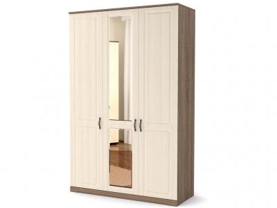 Шкаф Лаура 3-х с зеркалом с цоколем Винтаж - МДФ Лён жемчужный