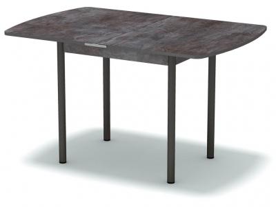 Стол обеденный раскладной закругленный Тёмный камень - ноги чёрные