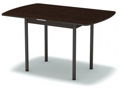 Стол обеденный раскладной закругленный Венге - ноги коричневые