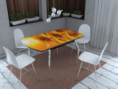 Стол раздвижной со стеклом Грация Подсолнухи